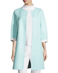 Escada Reversible Leather Long Jacket Off White Mint Off White Mint