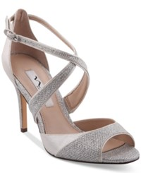 Nina Celosia Strappy Peep Toe Evening Sandals Women's Shoes Silver