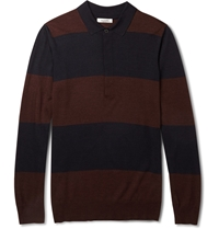 Valentino Striped Wool Silk And Cashmere Blend Polo Shirt Blue