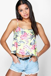 Boohoo Tropical Swing Strappy Cami Multi