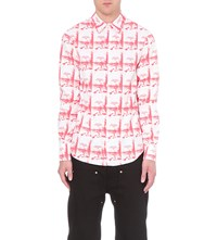 Hood By Air America Print Regular Fit Cotton Twill Shirt White Red