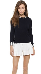 3.1 Phillip Lim Contrast Stripe Cashmere Sweater Navy