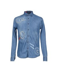 Desigual Denim Denim Shirts Men Blue
