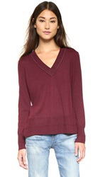 Rag And Bone Leanna V Neck Sweater Burgundy