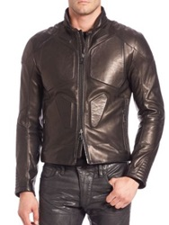 Ralph Lauren Black Label Leather Biker Jacket Metallic Black