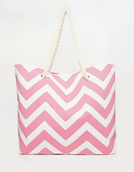 South Beach Chevron Print Bag In Pink Pink