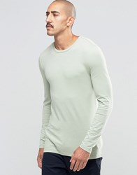 Asos Extreme Muscle Long Sleeve T Shirt With Crew Neck In Green Green