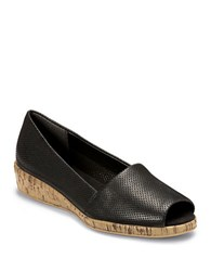 Aerosoles Sprig Break Leather And Cork Wedges Black Leather