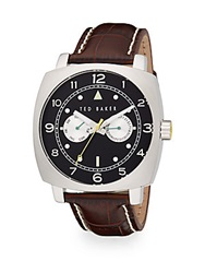 Ted Baker Square Stainless Steel And Leather Multifunction Watch Black Brown