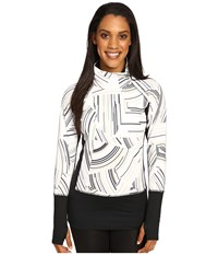 Brooks Threshold Long Sleeve Top White Cosmo Black Women's Long Sleeve Pullover