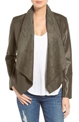Kut From The Kloth Women's 'Ana' Faux Leather Drape Front Jacket Pavement