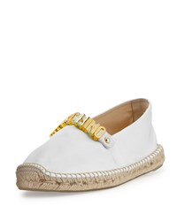 Moschino Lettering Canvas Espadrille Flat White Women's