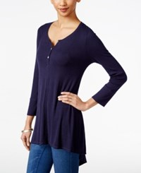 Styleandco. Style And Co. Ribbed High Low Top Only At Macy's Industrial Blue