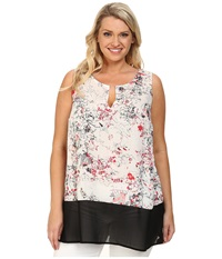 Dkny Plus Size Sketchy Floral Print And Color Block Tank Top Coral Women's Sleeveless