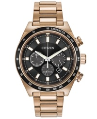 Citizen Men's Chronograph Eco Drive Rose Gold Tone Stainless Steel Bracelet Watch 42Mm Ca4203 54E