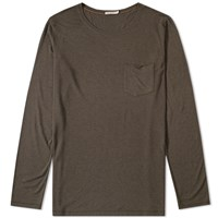 Nudie Jeans Long Sleeve Pocket Tee Green