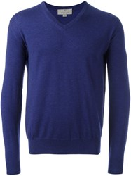 Canali V Neck Jumper Blue