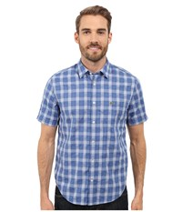 Lacoste Short Sleeve Textured Check Regular Fit Woven Shirt Iodine White Men's Clothing Blue