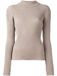 Markus Lupfer Ribbed Mock Neck Jumper Nude And Neutrals