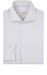 Cifonelli Men's Striped Cotton Dress Shirt Light Grey