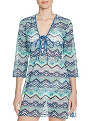Profile Blush By Gottex African Zz Tunic Swim Cover Up Multi Blue