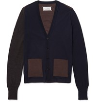 Maison Martin Margiela Two Tone Wool Cardigan Blue
