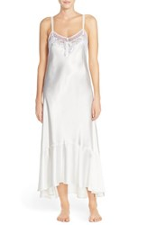 Women's Oscar De La Renta Sleepwear Lace And Satin Nightgown Pristine White