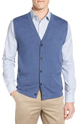 John W. Nordstromr Men's Big And Tall Nordstrom V Neck Wool Button Front Sweater Vest Navy Crown