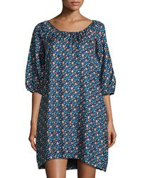 See By Chloe Mosaic Print Half Sleeve Shift Dress Teal Blue