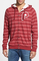 Mitchell And Ness 'Phillies' Stripe Button Front Jersey Hoodie Dark Red