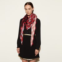 Coach Plaid Mix Oversized Square Scarf Red