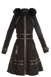 Elie Saab Fox Fur Trim Coat Black