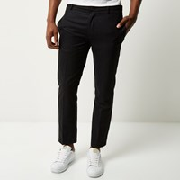 River Island Mens Dark Grey Houndstooth Skinny Crop Trousers