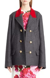 Dolce And Gabbana Women's Wool Cotton Double Breasted Peacoat