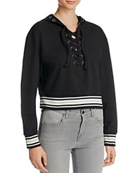 Lea And Viola Hooded Varsity Sweatshirt Compare At 105 Black