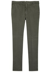 Pal Zileri Dark Sage Stretch Cotton Chinos Khaki