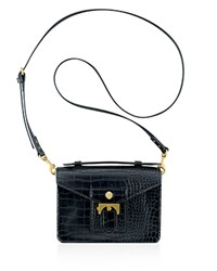 Anne Klein Small Serena Embossed Top Handle Satchel Black