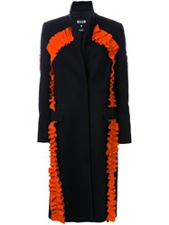 Msgm Ruffled Coat Black