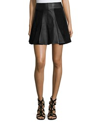 Michael Michael Kors Leather And Suede Flare Skirt Black
