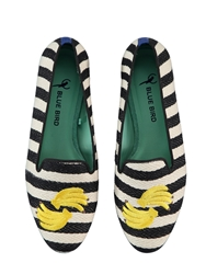 Blue Bird Banana Striped Cotton Loafers Black White