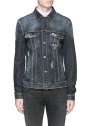 Dolce And Gabbana Crown And Bee Embroidery Denim Jacket Blue