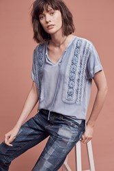 Anthropologie Laced Henley Tee Blue