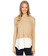 Bobeau Agatha Mixed Media Top With Button Shoulder Camel Women's Blouse Tan