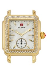 Michele Women's 'Deco 16 Diamond' Gold Plated Watch Case 29Mm X 31Mm Gold