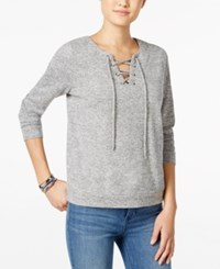 Hippie Rose Juniors' Lace Up Marled Pullover Top Heather Grey