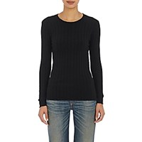 Simon Miller Women's Devola Rib Knit T Shirt Black Blue Black Blue