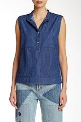 Marc By Marc Jacobs Sleeveless Chambray Blouse Blue