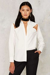 Nasty Gal Give It A Tri Cut Out Shirt White