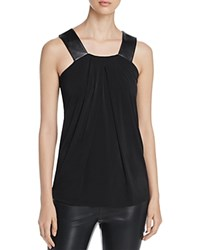 Michael Michael Kors Faux Leather Strap Tank Black