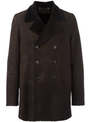 Paul Smith Notched Double Breasted Coat Brown